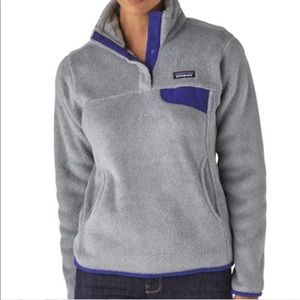 Perf Patagonia Snap Pullover Grey & Purple wmns M